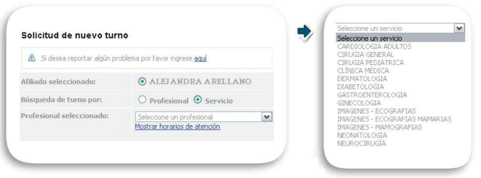 Sistema de turnos online Accord: búsqueda por profesional o especialidad