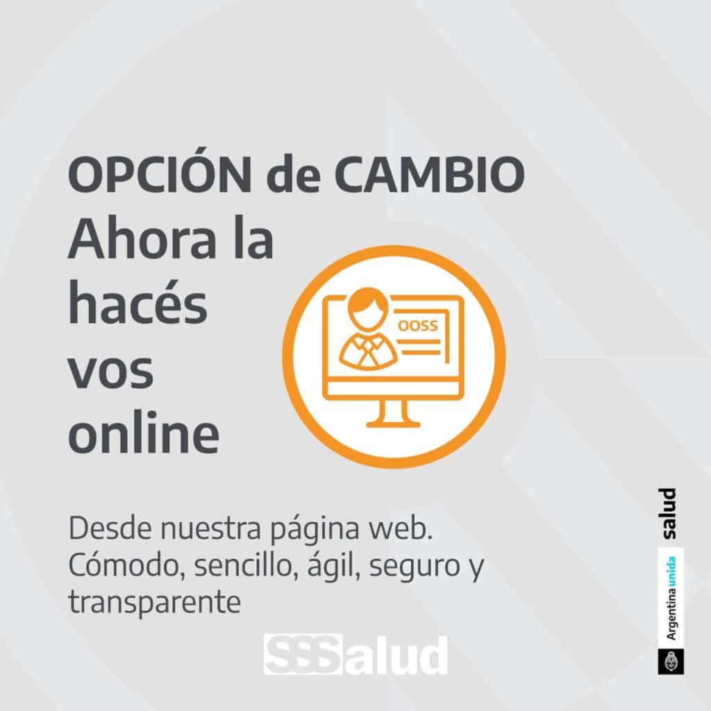 Opción de cambio de obra social se puede hacer online