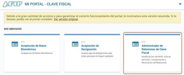 """Buscá la opción """"Administrador de Relaciones de Clave Fiscal"""""""