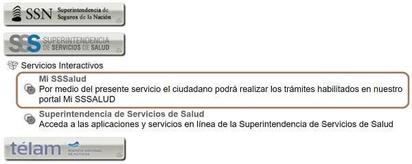 """Buscá los servicios de la Superintendencia de Salud, y seleccioná """"Mi SSSalud"""""""