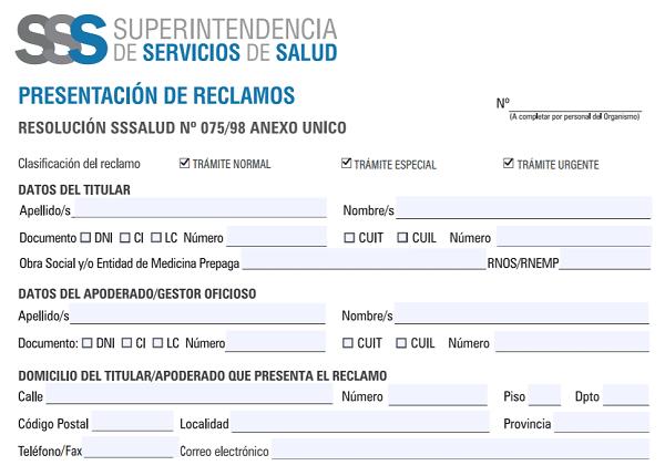 Formulario para la presentación de reclamos de tu obra social o prepaga ante la Superintendencia de Salud